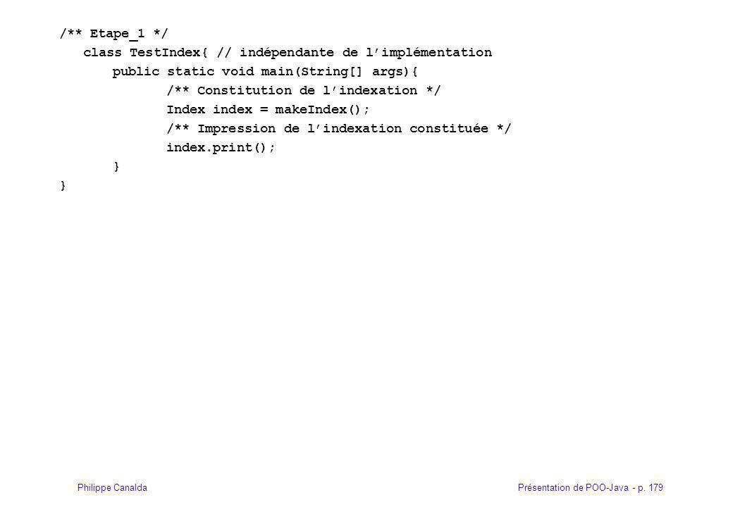 /** Etape_1 */ class TestIndex{ // indépendante de l'implémentation. public static void main(String[] args){